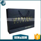 Luxury fancy style black paper bag high quality boutique craft paper bag with stamping logo