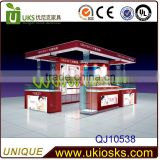 New design free floor cosmetic display standing kiosk with Waiting Egg Chairs Top Level Make up Cosmetic Kiosk