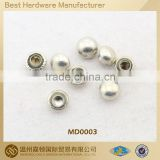 Dome nickle-free white metal rivet for apparel bag shoe, various Fashion designs customized