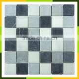 Tumbled black and white marble mosaic tiles from kb stone ltd
