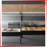 Bakery Shop Bread Floor Standing Display Cabenit Covered With Glass
