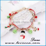 Christmas snowman gift jewelry bead charm bracelets with Christmas elements