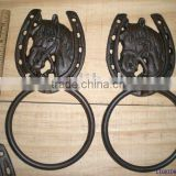 CAST IRON HORSE HEAD TOWEL RING