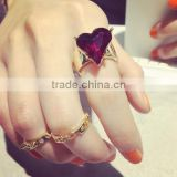 wholesale fashion jewelry exquisite heart finger ring set midi ring set