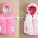 MOM AND BAB kids girls thickened vest jackets, two sides wear baby girls vest winter for wholesale