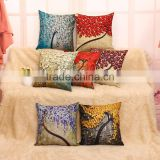 Fashion hot style super soft 3d tree linen pillow case custom linen cushion cover for office chair