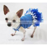 Blue Dog Tutu Dress Crochet Bling-bling Handmade Crocheted Wedding Designer Chihuahua Clothes Cat Costume