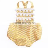 Wholesale Baby Clothing Yellow Polka Dot Kid's Romper With Pom Pom Trim Girls Boho Bubble