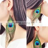 Boho Style Peacock Feather Silvery Hook Women's Dangle Earring