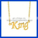 2014 fashion jewelry alphabet personalized 14k gold name necklace with letter King