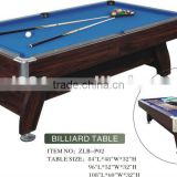 family size billiard table in 7ft,8ft,9ft