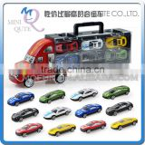 Mini Qute 12 in 1 kids Die Cast pull back alloy container truck vehicle model car educational toy NO.MQ 500