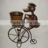 Outdoor metal animal bicycle plant pot garden ornaments
