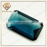 Rectangle Shape Baguette Cut Flat Bottom Blue Glass Gemstone