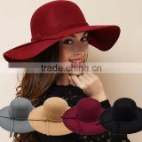 Wholesale Fashion Ladies Women Wide Brim Floppy Wool Felt Hat                                                                         Quality Choice