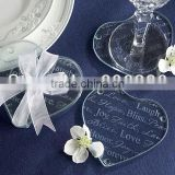 New!!! 2013 wedding favors Round heart shaped Glass Coaster wedding giveaways party souvenirs