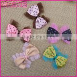 China factory cheap 8*6cm pink lace ribbon DIY clothes accessory bowknot for kid garment in stock
