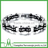 Jewelry Heavy Metal Stainless Steel Mens Motorcycle Bike Chain Bracelet Silver Black Chain Bangle
