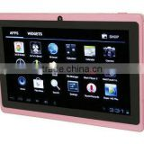 "7"" Allwinner A23 Q88 tablet pc 5 point capacitive Screen + android 4.4 + 1.2GHz 512MB 4GB + Webcam + Wifi"