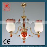 red wooden pink glass shades & wooden chandelier 10165-3
