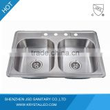 CUPC certified Double Bowl 304 Stainless Steel Kitchen Sink FSE-SS-3322                                                                         Quality Choice