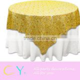 "Gold Chemical Lace Overlay 72""*72""/90""*90"""