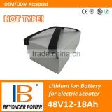 Factory direct sale, high quality electric scooter battery pack, 48V12Ah to 18Ah battery pack with samsung 18650