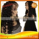 Hot Sale High Quality Grade 5A Brazilian Virgin Human Hair Full Lace Wig,Beautiful Deep Wave Lace Front Wigs