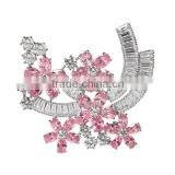 Platinum Plated Designer Crystal Flower Brooch With AAA+ Cubic Zircon Micro Pave Setting for Women and Men