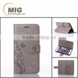 Mobile phone case for HTC M8/ M8 mini with flower pattern and card slots flip case cover for HTC m8/ m8 mini