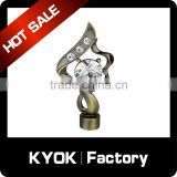 KYOK new curtain rod diamond finial, aluminum flower curtain rod end caps, 28mm curtain pipe covering