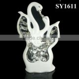 Isolate the silver plating decorative white ceramic love birds