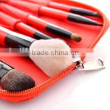 6pcs red cosmetic travel tool kit/private label makeup brush set/china manufacturer/make up tool bag products china