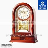 Cystal rotating pendulum table clock with wooden case Hand-crafted carving and traditional lacquer finish PW1418