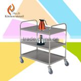 3 shelf 304# hotel restaurant high quality heavy duty Stainless steel kitchen serving trolley