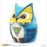 Coin Box Resin Blue Owl Figurine