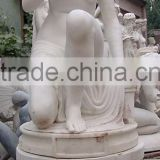 Sitting Nude Girl Statue White Marble Stone Hand Sculpture Carving