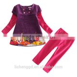 (H3589) purple 12M - 5Y Nova guang zhou factory wholesale girls dress sets baby toddler clothing