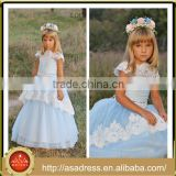LBFG11 Dreamlike Light Blue Ball Gown Cap Sleeve Wedding Party Gown Appliqued Floor Length Long Tulle Flower Girl Dress Pattern