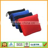 Muti-Puepose 2 in 1 Red Color Polor Fleece Picnic Travel Cushion Blanket with Zipper Pocket