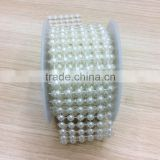 sew-on semicircle 2Meters 6Rows Half-round Artificial Ivory Pearls Beads Chain Garland Wedding Dress Decoration Supply