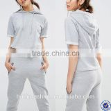 wholesale track suits for women rolled short sleeve hoodie and jogger pant plain tracksuit