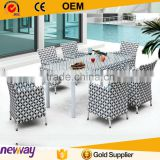Restaurant 6 seater Garden Plastic Rattan Furniture Dining Set Dining Tables and Chairs                                                                         Quality Choice