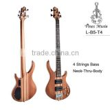 High Quality Mahogany neck through body 4 strings electric bass guitar