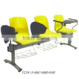 Powerful waiting chair with writing tablet Plastic chairs with metal legs Arm chair Y219-3+06C+06B+04D