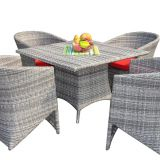 Dining Table And Chair Rattan Wicker Aluminum Frame Tempered Glass Axversion Fabric Cushion