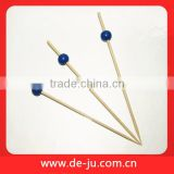 Dark Blue Ball Decorative Disposable Bamboo Skewer For Picnic Barbecue