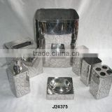 Mirror polished steel bathroom sets with abstract patterns