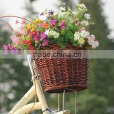 2014 new cheap removable wicker bicycle front rack basket