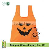 Wholesale Halloween theme folding shopping bags Customized pumpkin shape shoulder bags Fashion foldable tote bags